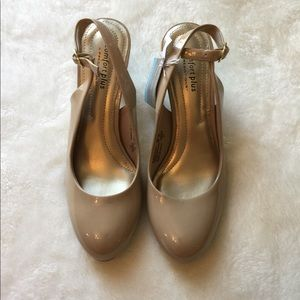 Nude patent leather sling back pumps